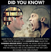 Ignorant, Memes, and Ignorance: DID YOU KNOW?  THE FREETHOUGHTPROJECT.  COM  SMART PEOPLE UNDERESTIMATE THEMSELVES, IGNORANT PEOPLE  THINK THEY'RE BRILLANT ITS A COGNITIVE BIAS CALLED THE  DUNNING-KRUGER EFFECT, WHERE THE HIGHLY SKILLED ASSUME  THAT THINGS THEY FIND EASY ARE ALSO EASY FOR OTHERS,  AND THE UNSKILLED ARE SO INCOMPETENT THAT THEY CAN'T  RECOGNIZE THEIR OWN STUPIDITY. This explains so much!   Learn More: http://bit.ly/1rBeIh4 Join Us: The Free Thought Project