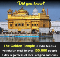 Memes, India, and Vegetarian: Did you know?  The Golden Temple in India feeds a  vegetarian meal to over 100,000 people  a day regardless of race, religion and class