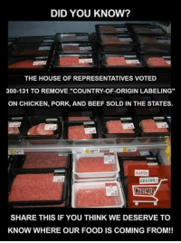 "Beef, Food, and Memes: DID YOU KNOW?  THE HOUSE OF REPRESENTATIVES VOTED  300-131 TO REMOVE ""COUNTRY-OF-ORIGIN LABELING""  ON CHICKEN, PORK, AND BEEF SOLD IN THE STATES.  5900  4999  MARCH  AGAINST  MURSanto  SHARE THIS IF YOU THINK WE DESERVE TO  KNOW WHERE OUR FOOD IS COMING FROM!! We Should Know, Wouldn't You Agree...."