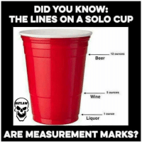 DID YOU KNOW:  THE LINES ON A SOLO CUP  12 ounces  Beer  5 ounces  Wine  OUTLAW  1 ounce  Liquor  ARE MEASUREMENT MARKS?