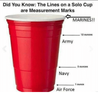 Did You Know: The Lines on a Solo Cup  are Measurement Marks  MARINES!!  12 ounces  Army  5 ounces  Navy  1 ounce  Air Force I know some Fellow Marines and Soldiers that can vow for this! 😂🇺🇸