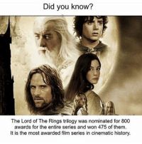 Hmmm what about now haters ???? __ Thank u for the 14.6k so amazing😻❣️: Did you know?  The Lord of The Rings trilogy was nominated for 800  awards for the entire series and won 475 of them.  It is the most awarded film series in cinematic history. Hmmm what about now haters ???? __ Thank u for the 14.6k so amazing😻❣️