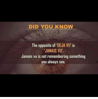 Deja Vu: DID YOU KNOW  The opposite of DEJA VU' is  JAMAIS VU'.  Jamais vu is not remembering something  you always see.