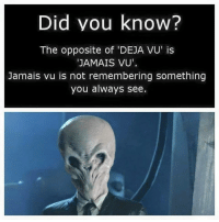 Deja Vu: Did you know?  The opposite of 'DEJA VU' is  JAMAIS VU'  Jamais vu is not remembering something  you always see.
