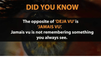 Deja Vu: DID YOU KNOW  The opposite of  DEJA VU'  IS  JAMAIS VU  Jamais vu is not remembering something  you always see.