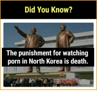 Wow! I'd have been dead thrice today only.: Did You Know?  The punishment for watching  porn in North Korea is death. Wow! I'd have been dead thrice today only.