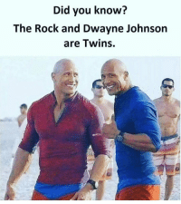 Dwayne Johnson, Memes, and 🤖: Did you know?  The Rock and Dwayne Johnson  are Twins.  wt You know that , right ? 😂😂😂😂😂