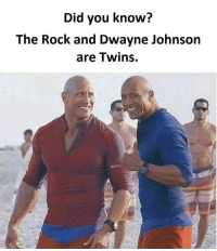 Dwayne Johnson, Memes, and 🤖: Did you know?  The Rock and Dwayne Johnson  are Twins. Twitter: BLB247 Snapchat : BELIKEBRO.COM belikebro sarcasm Follow @be.like.bro