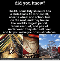 How many people would be interested in buying limited creepy fact t-shirts for $20 if I were to make them?: did you know?  The St. Louis City Museum has  a slide that's 10 stories tall  a and school bus  on the roof, and they house  the world's largest pencil,  tennis racquet, and pair of  underwear. They also sell beer  and let you make your own shoelaces.  of M  USEUM  DIDYOUKNOWBLOG.coM  PHOTO  YHIP How many people would be interested in buying limited creepy fact t-shirts for $20 if I were to make them?
