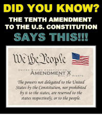 Memes, Constitution, and United: DID YOU KNOW?  THE TENTH AMENDMENT  TO THE U.S. CONSTITUTION  SAYS THIS!!  UNITED STATES CONSTITUTION  AMENDMENT X  BILLOF RIGHTS  The powers not delegated to the Vnited  States by the Constitution, nor prohibited  by it to the states, are reserved to the  states respectively, or to the people. (SP)