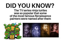 Ninja, Ninja Turtles, and Renaissance: DID YOU KNOW?  The TV series ninja turtles  was so popular that some  of the most famous Renaissance  painters were named after them Did you know? 1987