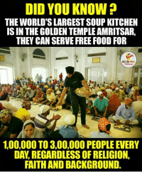 Faith, Religion, and Indianpeoplefacebook: DID YOU KNOW?  THE WORLD'S LARGESTSOUP KITCHEN  IS IN THE GOLDEN TEMPLE AMRITSAR,  THEY CAN SERVE FREE FOOD FOR  100,000 TO 3,00,000 PEOPLE EVERY  DAY REGARDLESS OF RELIGION,  FAITH AND BACKGROUND. Salute...