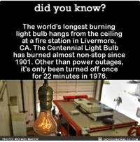 You da real MVP 💡 light lightbulb interesting themoreyouknow 📢 Share the knowledge! Tag your friends in the comments. ➖➖➖➖➖➖➖➖➖➖➖ Want more Did You Know(s)? ➡📓 Buy our book on Amazon: [LINK IN BIO] ➡📱 Download our App: http:-apple.co-2i9iX0u ➡📩 Get daily text message alerts: http:-Fact-Snacks.com ➡📩 Free email newsletter: http:-DidYouKnowFacts.com-Sign-Up- ➖➖➖➖➖➖➖➖➖➖➖ We post different content across our channels. Follow us so you don't miss out! 📍http:-facebook.com-didyouknowblog 📍http:-twitter.com-didyouknowfacts ➖➖➖➖➖➖➖➖➖➖➖ DYN FACTS TRIVIA TIL DIDYOUKNOW NOWIKNOW: did you know?  The world's longest burning  light bulb hangs from the ceiling  at a fire station in Livermore,  CA. The Centennial Light Bulb  has burned almost non-stop since  1901. Other than power outages,  it's only been turned off once  for 22 minutes in 1976.  PHOTO: MICHAEL MACOR  DIDYOUKNOWBLOG.COM You da real MVP 💡 light lightbulb interesting themoreyouknow 📢 Share the knowledge! Tag your friends in the comments. ➖➖➖➖➖➖➖➖➖➖➖ Want more Did You Know(s)? ➡📓 Buy our book on Amazon: [LINK IN BIO] ➡📱 Download our App: http:-apple.co-2i9iX0u ➡📩 Get daily text message alerts: http:-Fact-Snacks.com ➡📩 Free email newsletter: http:-DidYouKnowFacts.com-Sign-Up- ➖➖➖➖➖➖➖➖➖➖➖ We post different content across our channels. Follow us so you don't miss out! 📍http:-facebook.com-didyouknowblog 📍http:-twitter.com-didyouknowfacts ➖➖➖➖➖➖➖➖➖➖➖ DYN FACTS TRIVIA TIL DIDYOUKNOW NOWIKNOW