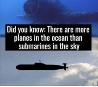 Memes, Http, and Ocean: Did you know: There are more  planes in the ocean than  submarines in the sky Wait a minute! via /r/memes http://bit.ly/2PXebUJ