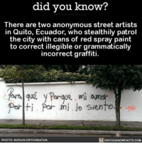 Grammar Police 🚨 funny grammar grammarnazi ➡📱Download our free App: [LINK IN BIO]: did you know?  There are two anonymous street artists  in Quito, Ecuador, who stealthily patrol  the city with cans of red spray paint  to correct illegible or grammatically  incorrect graffiti.  for Porque, mi amor  Polti, Por mi lo siento  DIDYOUKNOWFACTs.coM  PHOTO: ACCION ORTOGR FICA Grammar Police 🚨 funny grammar grammarnazi ➡📱Download our free App: [LINK IN BIO]