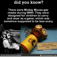 """Hard pass, that thing is terrifying AF! 😱 scary past history mickeymouse ➡📱Download our free App: [LINK IN BIO]: did you know?  There were Mickey Mouse gas  masks during WWII. They were  designed for children to carry  and wear as a game, which was  somehow supposed to be less scary  """"MICKEY MOUSE  GAS MASK FOR CHILDREN  WWII  PHOTO: AP PHOTO/ALLISON MEER  DIDYOUKNOWBLOG.COM Hard pass, that thing is terrifying AF! 😱 scary past history mickeymouse ➡📱Download our free App: [LINK IN BIO]"""