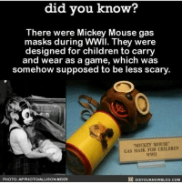 """Cute ~Matt: did you know?  There were Mickey Mouse gas  masks during WWII. They were  designed for children to carry  and wear as a game, which was  somehow supposed to be less scary  MICKEY MOUSE""""  GAS MASK FOR CHILDREN  wwll  PHOTO: AP PHOTOIALLISON MEIER  DIDYOUKNOWBLOG.COM Cute ~Matt"""