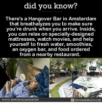 Amazon, Apple, and Drunk: did you know?  There's a Hangover Bar in Amsterdam  that breathalyzes you to make sure  you're drunk when you arrive. Inside,  you can relax on specially-designed  mattresses, watch movies, and help  yourself to fresh water, smoothies,  an oxygen bar, and food ordered  from a nearby restaurant.  PHOTO: APIPETER DEJONGICATERS  DIDYOUKNOWFACTS.COM This sounds glorious 😲🍻 hangover hungover drinks dranks toomuchalcohol 📢 Share the knowledge! Tag your friends in the comments. ➖➖➖➖➖➖➖➖➖➖➖ Want more Did You Know(s)? ➡📓 Buy our book on Amazon: [LINK IN BIO] ➡📱 Download our App: http:-apple.co-2i9iX0u ➡📩 Get daily text message alerts: http:-Fact-Snacks.com ➡📩 Free email newsletter: http:-DidYouKnowFacts.com-Sign-Up- ➖➖➖➖➖➖➖➖➖➖➖ We post different content across our channels. Follow us so you don't miss out! 📍http:-facebook.com-didyouknowblog 📍http:-twitter.com-didyouknowfacts ➖➖➖➖➖➖➖➖➖➖➖ DYN FACTS TRIVIA TIL DIDYOUKNOW NOWIKNOW