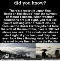 Memes, 🤖, and Feet: did you know?  There's a resort in Japan that  floats on the clouds' near the summit  of Mount Tomamu. When weather  conditions are just right, you feel like  you're relaxing over a sea of clouds,  because the Unkai Terrace juts out from  the side of the mountain, over 3,500 feet  above sea level. The clouds sometimes  start right at your feet, and they can  even look like a flowing waterfall when  the wind blows them in from the Pacific.  R DIDYOUKNOWFACTs.coM  PHOTO: HOSHINO RESORTS TO MAMU TAKE ME HERE 😍 wow beautiful Japan resort vacation ➡📱Download our free App: [LINK IN BIO]