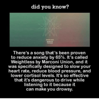 Memes, Pressure, and Anxiety: did you know?  There's a song that's been proven  to reduce anxiety by 65%. It's called  Weightless by Marconi Union, and it  was specifically designed to slow your  heart rate, reduce blood pressure, and  lower cortisol levels. It's so effective  that it's dangerous to drive while  listening to it because it  can make you drowsy. oh really now