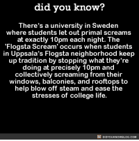 Lets implement this in the workplace as well! 😱  Get the Did You Know book ➡ http://amzn.to/2eNRlj1: did you know?  There's a university in Sweden  where students let out primal screams  at exactly 10pm each night. The  Flog sta Scream' occurs when students  in Uppsala's Flogsta neighborhood keep  up tradition by stopping what they're  doing at precisely 10pm and  collectively screaming from their  windows, balconies, and rooftops to  help blow off steam and ease the  stresses of college life.  DIDYOUKNOWBLOG.coM Lets implement this in the workplace as well! 😱  Get the Did You Know book ➡ http://amzn.to/2eNRlj1