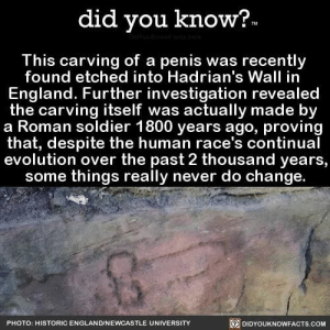 Meme of the millennium.... twice!!: did you know?-  This carving of a penis was recently  found etched into Hadrian's Wall in  England. Further investigation revealed  the carving itself was actually made by  a Roman soldier 1800 years ago, proving  that, despite the human race's continual  evolution over the past 2 thousand years,  some things really never do change.  PHOTO: HISTORIC ENGLAND/NEWCASTLE UNIVERSITY  DIDYOUKNOWFACTS.COM Meme of the millennium.... twice!!