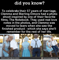 Dank, Life, and Love: did you know?  To celebrate their 57 years of marriage,  Clemma and Sterling Elmore had a photo  shoot inspired by one of their favorite  films, The Notebook. They used real love  notes in the photos, and Clemma was  moved to tears when she saw the  finished product which she says she'll  remember for the rest of her life.  DIDYOUKNOWBLOG.coM  PHOTO: STACY WELCH  CHRIST I can't even get a text back! 🙋❤️  Source(s) on the Did You Know blog, below photo ➡️  http://didyouknowblog.com/post/150274944795/to-celebrate-their-57-years-of-marriage-clemma