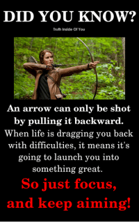 Life is a bow, and you are the arrow..!! (Y) :): DID YOU KNOW?  Truth Inside Of You  An arrow can only be shot  by pulling it backward.  When life is dragging you back  with difficulties, it means  it's  going to launch you into  something great.  So just focus,  and keep aiming Life is a bow, and you are the arrow..!! (Y) :)