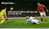 @footy.goal: Did you know  WAYNE ROONEY HAS SCORED IN EVERY SINGLE GAME  HE'S PLAYED THIS YEAR .  ZIG  Troll Football @footy.goal
