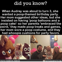 """These parents are 💯💩 parentgoals poop emoji ➡️📓 Buy our book on Amazon: [LINK IN BIO]: did you know?  When Audrey was about to turn 3, she  wanted a poop-themed birthday party  Her mom suggested other ideas, but she  insisted on having """"poop balloons and a  poop cake- so her parents 'embraced the  weird, they made poop treats and games,  her mom wore a poop costume, and they  had whoopie cushions for party favors.  Og  PHOTO: FACEBOOK, REBECCA These parents are 💯💩 parentgoals poop emoji ➡️📓 Buy our book on Amazon: [LINK IN BIO]"""