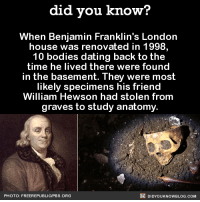 "Benjamin Franklin, Bodies , and Dating: did you know?  When Benjamin Franklin's London  house was renovated in 1998,  10 bodies dating back to the  time he lived there were found  in the basement. They were most  likely specimens his friend  William Hewson had stolen from  graves to study anatomy.  PHOTO: FREEREPUBLIC/PBS ORG  DIDYOUKNOWBLOG.COM <p><a class=""tumblr_blog"" href=""http://new-age-conservative.tumblr.com/post/133490205755"">new-age-conservative</a>:</p> <blockquote> <p><a class=""tumblr_blog"" href=""http://did-you-kno.tumblr.com/post/133466962099"">did-you-kno</a>:</p> <blockquote> <p>When Benjamin Franklin's London house was renovated in 1998, 10 bodies dating back to the time he lived there were found in the basement. They were most likely specimens his friend William Hewson had stolen from graves to study anatomy.  <a href=""http://mentalfloss.com/article/30448/time-they-found-those-bodies-ben-franklins-basement?utm_source=Facebook&amp;utm_medium=Partner&amp;utm_campaign=DYK"">Source</a></p> </blockquote> <p>Personally, I'm going to believe Ben was a serial killer. <br/></p> </blockquote>"