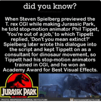That T-Rex still got me shook 😱 jurassicpark dinosaurs movies moviemagic ➡📱Download our free App: [LINK IN BIO]: did you know?  When Steven Spielberg previewed the  T. rex CGI while making Jurassic Park,  he told stop-motion animator Phil Tippet,  You're out of a job, to which Tippett  replied, 'Don't you mean extinct?  Spielberg later wrote this dialogue into  the script and kept Tippett on as a  consultant for dinosaur movement, so  Tippett had his stop-motion animators  trained in CGI, and he won an  Academy Award for Best Visual Effects.  LURASSICPARK  PHOTO: WIKIPEDIAUNIVERSAL VIA YOUTUBE  DIDYOUKNOWFACTS.COM That T-Rex still got me shook 😱 jurassicpark dinosaurs movies moviemagic ➡📱Download our free App: [LINK IN BIO]