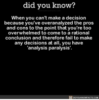 Apple, Fail, and Memes: did you know?  When you can't make a decision  because you've overanalyzed the pros  and cons to the point that you're too  overwhelmed to come to a rational  conclusion and therefore fail to make  any decisions at all, you have  'analysis paralysis'.  DIDYOUKNOWFACTS.coM Say that five times fast. 😵 analysisparalysis overthinking prosandcons interesting ➡📱Download our free App: http:-apple.co-2i9iX0u