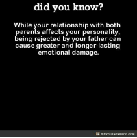 Jessi: did you know?  While your relationship with both  parents affects your personality,  being rejected by your father can  cause greater and longer-lasting  emotional damage.  DIDYOUKNOWBLOG.COM Jessi