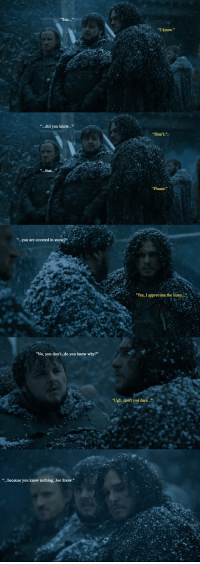 """...did you know...""  ""...you are covered in snowar  ""No, you don't do you know why?""  because you know nothing,  Jon snow.  ""I know.""  Don't.  ""Yes, I appreciate the irony.  ""Ugh, don't you dare..."" Jon Snow, covered in snow."