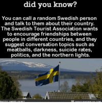 Memes, Phone, and Politics: did you know?  You can call a random Swedish person  and talk to them about their country.  The Swedish Tourist Association wants  to encourage friendships between  people in different countries, and they  suggest conversation topics such as  meatballs, darkness, suicide rates,  politics, and the northern lights.  PHOTO CARPFI Im N If you're lonely...📞 swedish phone call tourism travel ➡📱Download our free App: [LINK IN BIO]