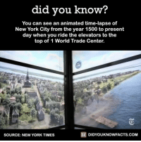 Animals, Anime, and Dank: did you know  You can see an animated time-lapse of  New York City from the year 1500 to present  day when you ride the elevators to the  top of 1 World Trade Center.  DIDYOUKNOWFACTS.COM  SOURCE: NEW YORK TIMES If you're ever in New York, New York...  [via/source The New York Times]