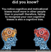 🤔💥 interesting cognative mind brain ➡📱Download our free App: [LINK IN BIO]: did you know?  You notice cognitive and motivational  biases much more in other people  than in yourself- therefore, failing  to recognize your own cognitive  biases is also a cognitive bias.  PHOTO: UPENN EDU  DIDYOUKNOWBLOG.COM 🤔💥 interesting cognative mind brain ➡📱Download our free App: [LINK IN BIO]