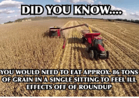 Roundup is applied at a rate of approx. 22 ounces per acre, (just over half a liter, or 650 ml) which is less than 2 beer cans worth over an area of land the size of an American football field. One acre plants 35,000 corn seeds which yield on average, say... 220 bushels or over 12,000 pounds (6 tons) of grain. Since the active ingredient glyphosate makes up 41% of this with an LD50 value of 5600 mg/kg and is sprayed before the edible part of the plant is present, trace residues are parts per trillion. Therefore, 86 tons of grain (about 14 acres) would be an approximate calculation to pose alarm in humans.: DID)YOU KNOW  YOU,WOULD NEED TOEATAPPROXA86:TONS  OFGRAIN:IN AS INGLESITTINGTOFEEL ILL  EFFECTS OFFOF ROUNDUP  / Roundup is applied at a rate of approx. 22 ounces per acre, (just over half a liter, or 650 ml) which is less than 2 beer cans worth over an area of land the size of an American football field. One acre plants 35,000 corn seeds which yield on average, say... 220 bushels or over 12,000 pounds (6 tons) of grain. Since the active ingredient glyphosate makes up 41% of this with an LD50 value of 5600 mg/kg and is sprayed before the edible part of the plant is present, trace residues are parts per trillion. Therefore, 86 tons of grain (about 14 acres) would be an approximate calculation to pose alarm in humans.