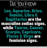 This explains so much ♈: Did You know  ZODIAC CITY TUMBLR COM  Leo, Aquarius, Aries  Gemini, Libra &  Sagittarius are the  masculine zodiac signs,  while  Taurus, Cancer,  Scorpio, Capricorn  Pisces & Virgo are  feminine signs  Reinvented by Libra Lover This explains so much ♈