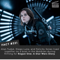 Memes, Movies, and Star Wars: DID YOU KNOWw  MOVIES  FACT #331  Alan Tudyk, Diego Luna, and Felicity Jones lived  together on a boat in the Maldives during  filming for Rogue One: A Star Wars Story Rank all the live action Star Wars movies from best to worst. 🎥 • • • • Double Tap and Tag someone who needs to know this 👇 All credit to the respective film and producers. movie movies film tv camera cinema fact didyouknow moviefacts cinematography screenplay director actor actress act acting movienight cinemas watchingmovies hollywood bollywood didyouknowmoviesv