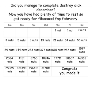 browsedankmemes:  Anyone up for a challenge? via /r/dank_meme http://ift.tt/2BBfXUg: Did you manage to complete destroy dick  december?  Now you have had plenty of time to rest so  get ready for fibonacci fap february  Sun  Mon  Tue  Wed  Thu  Fri  Sat  1 nut1 nut  2 nuts  3 nuts5 nuts8 nuts  13 nuts  21 nuts 34 nuts 55 nuts  1597  nuts  89 nuts 144 nuts 233 nuts 377 nuts 610 nuts 987 nuts  2584 4181 6765 10946 17711 28657 46368  nuts  nuts  nuts  nuts  nuts  nuts  nuts  75025 121393 196418 317811  Congratz  uts nuts nutsutsyou made it browsedankmemes:  Anyone up for a challenge? via /r/dank_meme http://ift.tt/2BBfXUg