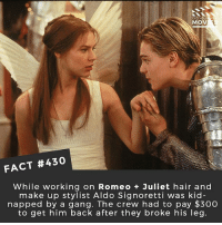 "Crazy, Makeup, and Memes: DID YOU  MOV  FACT #430  While working on Romeo + Juliet hair and  make up stylist Aldo Signoretti was kid  napped by a gang. The crew had to pay $300  to get him back after they broke his leg. This is crazy! From the interview with Baz Luhrmann: ""The hair and makeup person, Aldo Signoretti, who worked with Fellini was kidnapped. We paid $US300 to get him back, I thought rather a bargain. I was not there, he was kidnapped. The bandidos (sic) rang up and said for $US300 you can have him back. So Maurizio, who is about this high, goes down clutching the money to outside the hotel holds it up, chucks them the bag and they threw him out of the car and broke his leg. So we had adventures."" I found this fact via @kidcassidyfilms 🎥 • • • • Double Tap and Tag someone who needs to know this 👇 All credit to the respective film and producers. movie movies film tv camera cinema fact didyouknow moviefacts cinematography screenplay director actor actress act acting movienight cinemas watchingmovies hollywood bollywood didyouknowmovies"