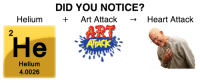 heart attack: DID YOU NOTICE?  Art Attack Heart Attack  Helium  He  Helium  4.0026