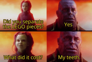 This post was made by the Brick Biter Gang: Did you separate  the LEGO pieces?  Yes  What did it cost?  My teeth. This post was made by the Brick Biter Gang
