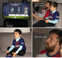 Messi and his son playing a game of FIFA 😂👏 Penalty Iceland Troll: did you srsly  pick iceland  CELAND  ARGENTINA  10  KSI  73 74 8681 83  73 7469  86 81 83  lets play gta  omg you got  a penalty  belo  kuten Messi and his son playing a game of FIFA 😂👏 Penalty Iceland Troll