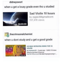 going 2 mcdonalds @6am is weird lmao: didneysworl  when u get a lousy grade even thoustudied  Sad Violin 10 hours  by zygis356gmailcom  157,476 views  10:00:00  thecrimsonalchemist  when u dont study and u get a good grade  HE MAN HEYEAYEA SONG FOR 10  HOURS  by vostroyan10. 2 years ago 5.620.110 views  httpJMor10hours.comho-man-heyeayea-song-1...  10:31:49 going 2 mcdonalds @6am is weird lmao