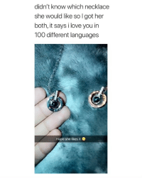 Anaconda, Love, and Omg: didn't know which necklace  she would like so l got her  both, it says i love you in  100 dlifferent languages  Hope she likes it Omg 😍 get these necklaces exclusively from @purewayproducts ❤️ they're 50% off today only! (link in bio)