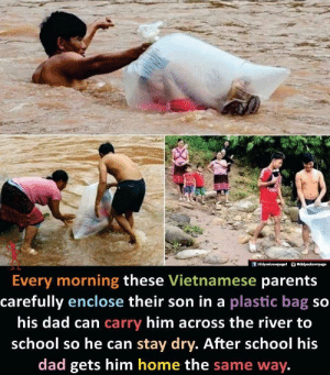 awesomacious:  Damn, my dad doesn't even like me: /didyouknowpaget odidyouknewpage  Every morning these Vietnamese parents  carefully enclose their son in a plastic bag so  his dad can carry him across the river to  school so he can stay dry. After school his  dad gets him home the same way. awesomacious:  Damn, my dad doesn't even like me