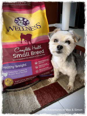Dogs, Food, and Memes: die  eroOD FOR DOGS  with added vitamins, minerals & taurine for wlbin  WELLNESS  Complete Health  Small Breed  Natural Ingredients Plus Nutrients for Small Adult Dogs  Weight Management  Pevelen  Cumal ea  Healthy Weight  Digestive Health  Deboned Turkey &  Brown Rice Recipe  Skin & Coat Health  No Hear Dv Products, Fiters  or Astseal Preseratives  Wellness  Way  The Adventures of Max & Simon Dog food 🧐!?!? When did we get a dog 🤔???  xoxo Max ❤️